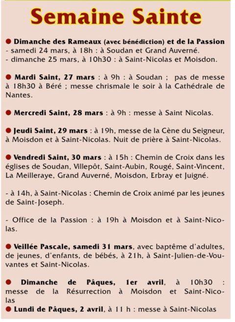 Horaires de la Semaine Sainte