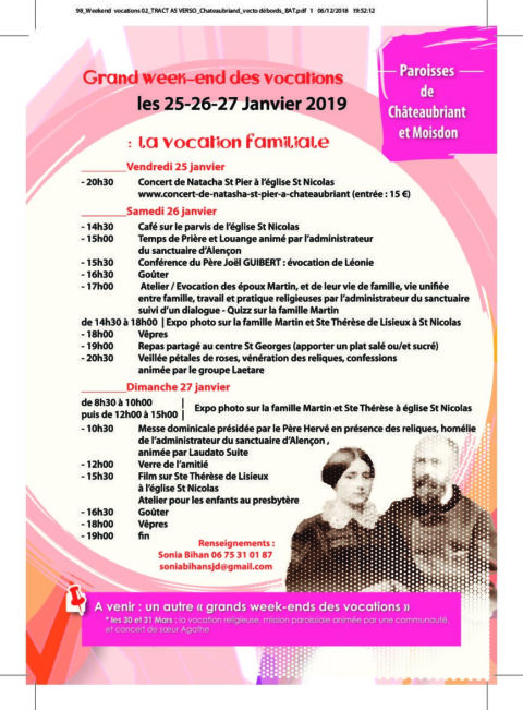 Les Reliques de Saints Louis, Zélie et Thérèse Martin à Châteaubriant !